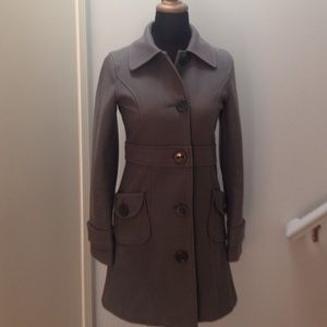 Fitted grayish green Tulle Wool Peacoat
