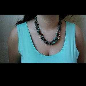 NWOT Irredecent Chunky Stone Statement Necklace