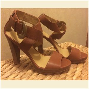 Nine West Brown Heeled Sandals with Buckle