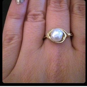 handmade by me Jewelry - Handmade custom pearl wire wrapped ring