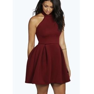 f2d56f9f76a Boohoo Dresses - Ana Turtle Neck Bonded Scuba Skater Dress in Berry