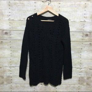Relativity Sweaters - Relativity open knit sparkly black sweater sz., S