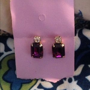 Amethyst gold post earriings