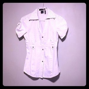 Tops - White Short Sleeved Button Down Top