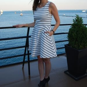 Sam Edelman black and white stripe dress.