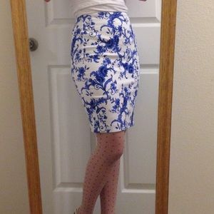 Blue/White Floral Pencil Skirt