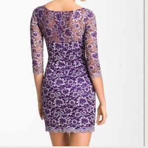 Designer purple lace mini cocktail wedding dress