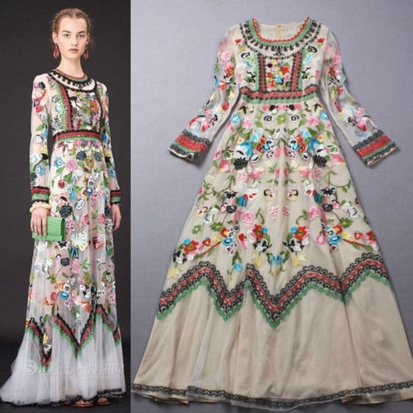 Dresses | Its Here Bohemian Embroidered Gown | Poshmark