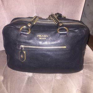 diaper bags prada - 89% off Prada Handbags - Prada Black Gaufre Napa Leather Satchel ...