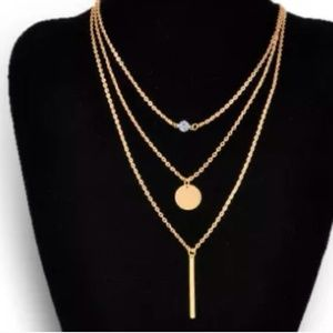 GOLD PLATED MULTI LAYERS OF CHARMS CHAINS NECKLC