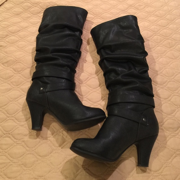 68% off Macy's Shoes - Black Below-the-Knee Heeled Boots from ...