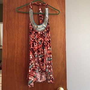 Tops - Orange and turquoise halter top