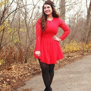 Hm Long Sleeved Red Lace Dress
