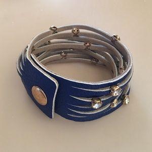 Jewelry - Blue Leather and Rhinestone Bracelet