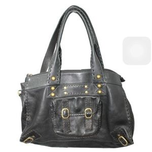 CARLA MANCINI BLACK LEATHER SLOUCHY SATCHEL
