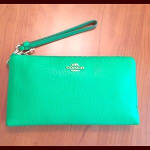 Coach Green Double Zip Wallet