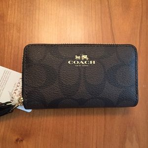 Coach Signature Small Double Zip Coin Case