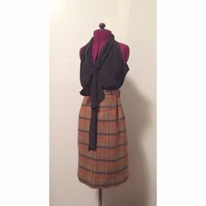 vintageplaid wool pencil skirt~!