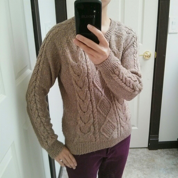 H&M - H&M Light Brown Metallic Gold Cable Knit Sweater from ...