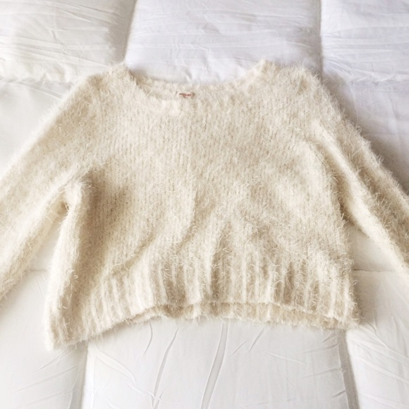 63% off Urban Outfitters Sweaters - Crop Fuzzy Cream Sweater from ...
