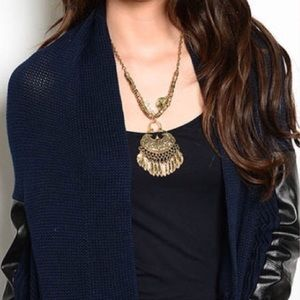 Callie Lives Jackets & Blazers - ♨️HP♨️Navy Blue Sweater Black Faux Leather Patches