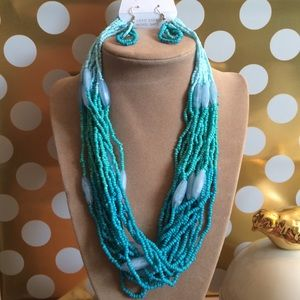 Jewelry - Aqua ombré beaded necklace and earrings