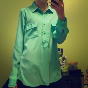 Old Navy Semi Sheer Mint Colored Blouse