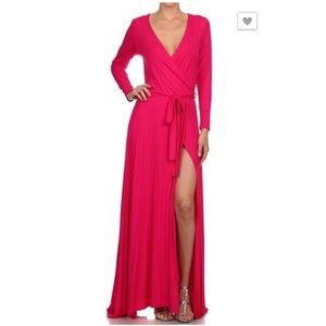 Dresses & Skirts - Maxi Dress with Split and belt tie, Fuchsia Pink