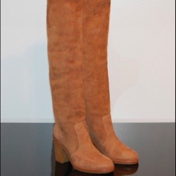 chanel over the knee boots. chanel shoes - 100% authentic chanel over knee boot shearling the boots