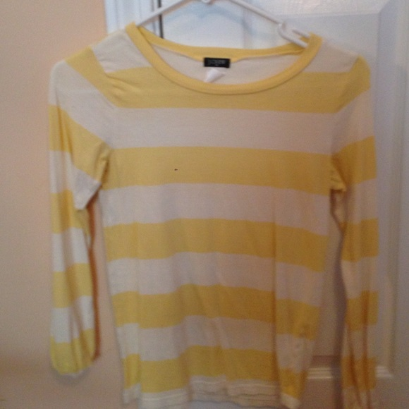 83% off J. Crew Tops - Yellow and white striped long sleeve shirt ...