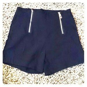 julius Pants - Black stretchy high waisted shorts gold hardware