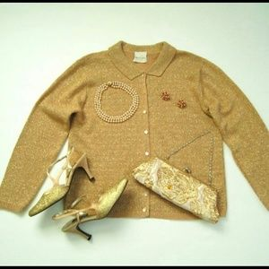 Gold Sparkle Sweater by Bentley size 12