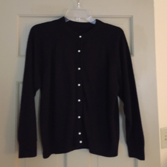 73% off Sweaters - Vintage Black Cardigan with Pearl Buttons ...