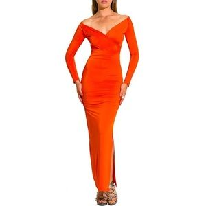 Dresses & Skirts - Orange V-CUT LONG SLEEVE MAXI DRESS