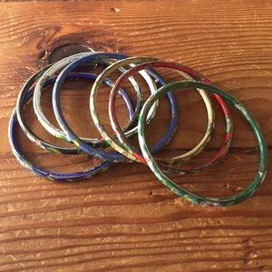 Anthropologie Jewelry - Anthropologie set of seven enamel bangle bracelets