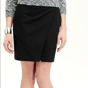 Black Sateen Faux Wrap Skirts