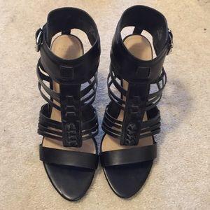 Zara Black Heeled Gladiator Sandals Size 41