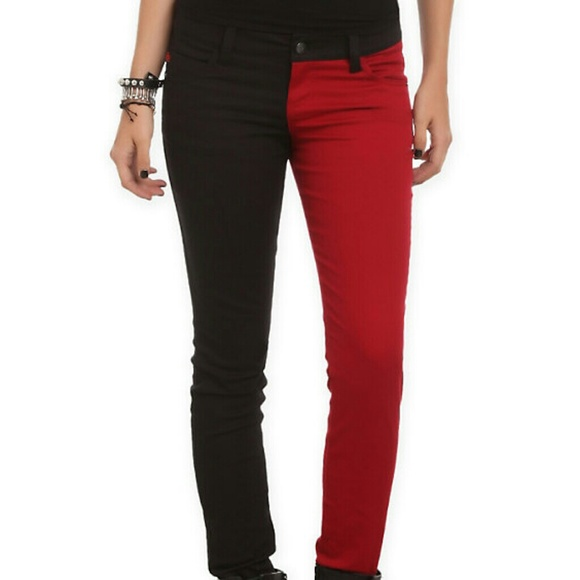 20% off Hot Topic Denim - Split Leg Red & Black Skinny Jeans from ...