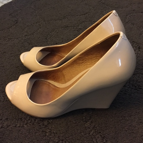 142ac9ff1854 ALDO Shoes - Aldo Lucille nude peep toe patent leather wedge