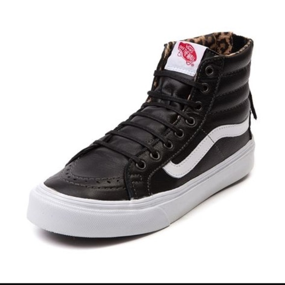 057fde4911 Vans Shoes Leather SK8-Hi Slim Zip (black leopard)