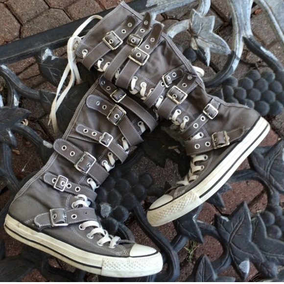 004f3c5016092c Converse Shoes - Converse Knee High Buckle Up Gray Boots