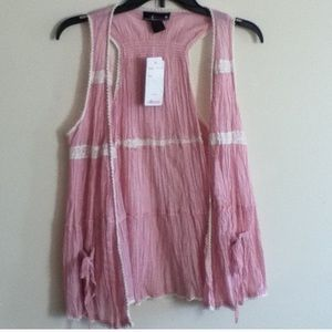 Pink sheer vest with embroided white detail