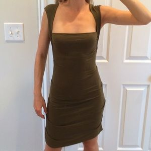 Nicole Miller olive colored dress