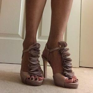 Vince Camuto Shoes - Blush Satin Ruffle Heels