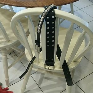 Two black leather Studded Belts