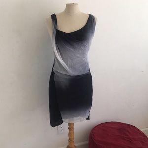 Helmut Lang black & white ombré dress