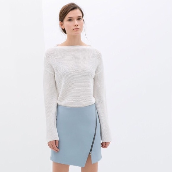 50% off Zara Dresses & Skirts - Zara Leather Skirt Light Blue Zip ...