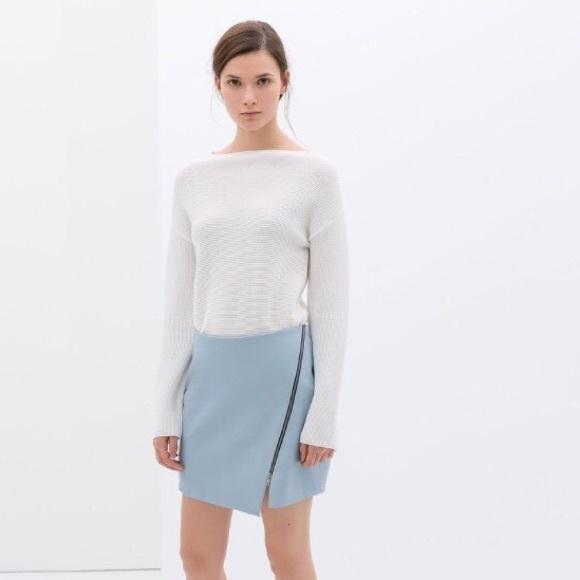 50% off Zara Dresses & Skirts - Zara Leather Skirt Light Blue Zip ...