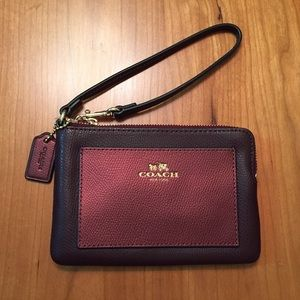 Coach Oxblood/Metallic Cherry Wristlet