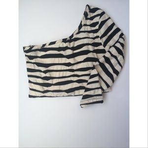 Black and White Striped One Shoulder Dress
